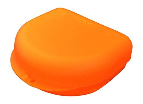 kleine Zahnspangendose, Retainer- Dentalbox, KFO-Box, small (Orange transluzent) -