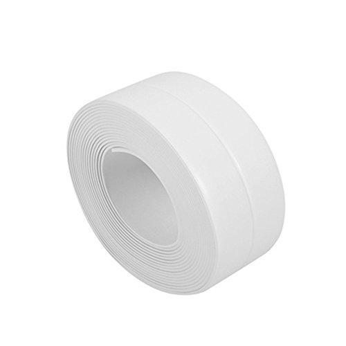 Bodhi2000 Bande d'étanchéité pour baignoire, mur, cuisine, salle de bain en PVC adhésif, PVC, blanc, 38 mm