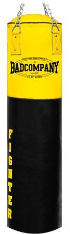 Profi Fighter Vinyl Boxsack schwarz / gelb 150 x 35cm gefüllt inkl. Heavy Duty Vierpunkt-Stahlkette