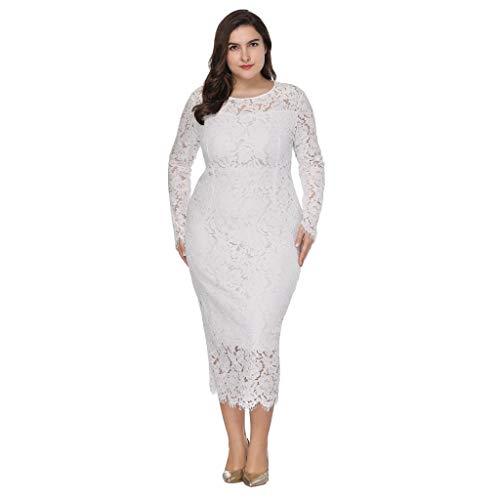 Weißen Rock Anzug (feiXIANG Elegant Kleid Bleistiftrock Damen Spitze Cocktailkleider Party Ballkleid Große Größe Knielang Rock (F/Weiß, XXXL))