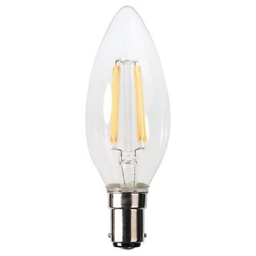 3 Kleiner Bajonettsockel 3 W Kerze LED-Glühlampe, Transparent / Warm-weiß (Led-bulk)