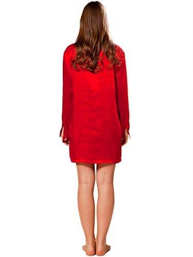 ELLESILK 100% Natur Seide Nachtshirt Damen langarm, 22 MM Maulbeerseide Sleepshirt Kirschrot