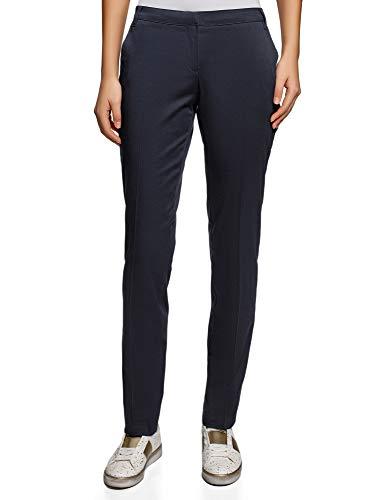 Oodji ultra donna pantaloni basic estivi, blu, it 46 / eu 42 / l