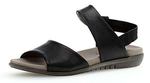 Gabor 24.601 Damen Sandalen,Riemchensandale, Frauen,Sandalette,Sommerschuh,flach,Best Fitting,schwarz,5.5 UK - Sandalen Frauen Schwarze Flache