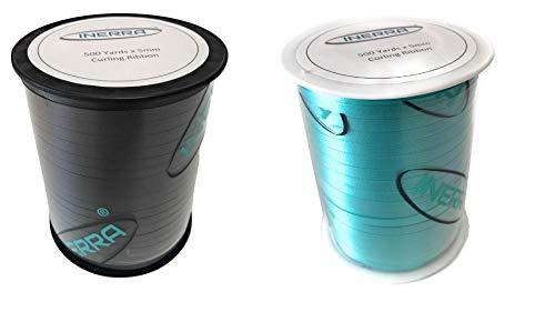 Cinta rizadora de globos Inerra – 2 bobinas de 500 yardas (negro y agua) – 5 mm de ancho