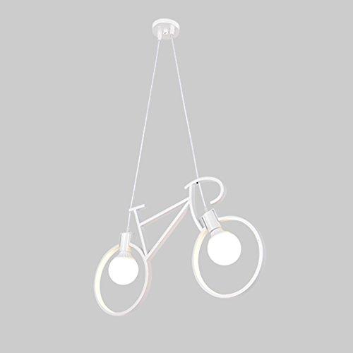 FANXL Moderne Kunst Pendelleuchte Eisen Fahrrad Hängelampe Für Café Restaurant Bar Arbeitszimmer Wohnzimmer Decke Kronleuchter[Energieklasse A+],White (Kunst-fahrrad)