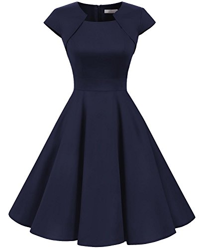 HomRain Damen 50er Vintage Retro Kleid Party Kurzarm Rockabilly Cocktail Abendkleider Navy 3XL