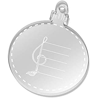 Azeeda 2 x 52mm 'Bird Treble Clef' Clear Flat Baubles (CB00037271)