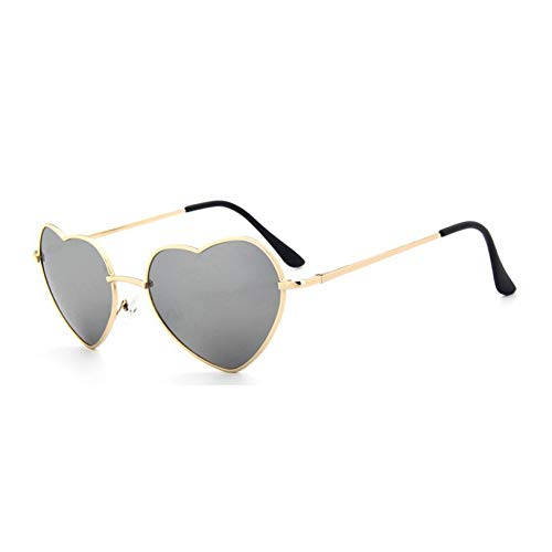 KCJKXC Form Reflektierende Herz-Sonnenbrille Retro Frauen Lady Vintage Designer Glasses