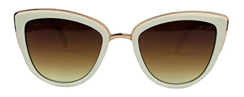 Moderne Cat Eye Damen Sonnenbrille im Designer Stil PR16 (Creme/Braun)