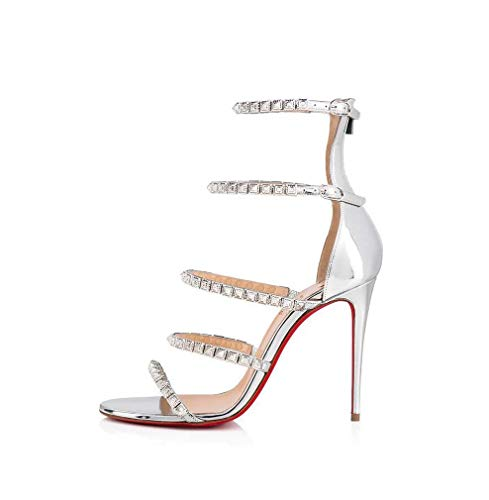GHFJDO Damen Riemchen High Heel Sandalen Damen Party Prom Braut Brautjungfer Stiletto Schuhe Größe,Silver,36EU -
