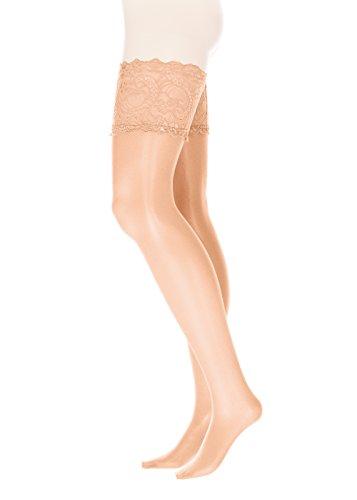 GLAMORY Damen Comfort 20 Halterlose Strümpfe, 20 DEN, Braun Teint, Large (Herstellergröße: L-(44-46))