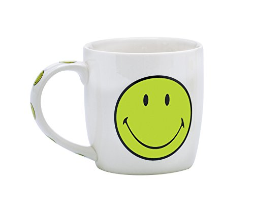 Zak Designs 6662-1594 Smiley Mug Porcelaine Blanc/Vert 35 cl