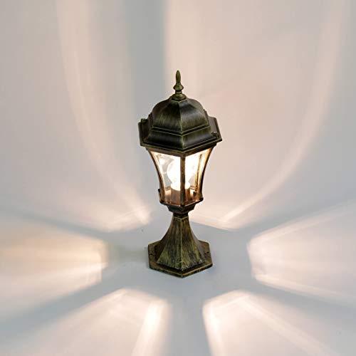 Rustikale Wegeleuchte Gold Antik Aluminium Glas H:50cm WARSCHAU Sockel Leuchte Hof Garten Einfahrt