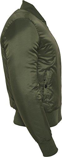 Urban Classics TB861 Herren Jacke - Basic Bomber Jacket, Bomberjacke mit aufgesetzter Tasche und Zipper am Arm (formstabile & elastische Bomber Jacke) Grün (olive 176)