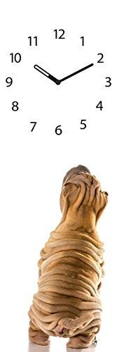 Wanduhr aus Glas, Dog Clock, brauner Hund mit Falten, 20x60 cm von Eurographics