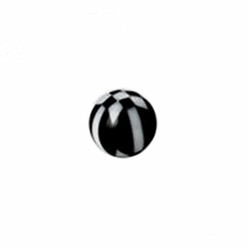 Boule en acrylique à motif damier contrasté matte symbole-lot de 10 1,2 mm | 4 mm | BK / WT - Noir / Blanc