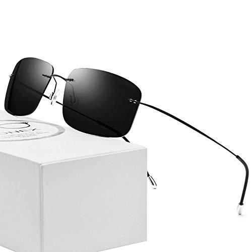 LKVNHP Neue Hochwertige Randlose Polarisierte Sonnenbrille Männer Ultraleicht Ultraleichte Schraubenlose Rahmenlose Platz Sonnenbrille Für Frauen Titanium Legierung