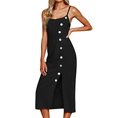 kolila Damen Kalte Schulter Camisole Kleider Elegantes Split Slim Midi Kleid lässig ärmelloses Kleid mit Knopf(Schwarz,L)