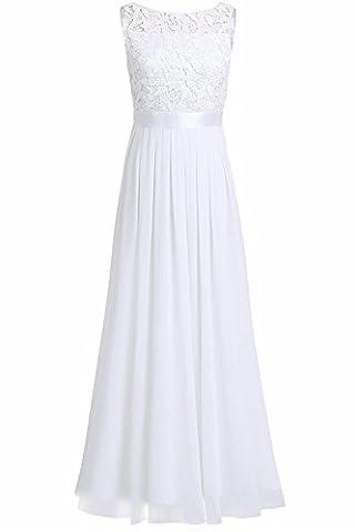 YiZYiF Elegante Damen Kleid Spitzen Abendkleid Cocktailkleid Partykleider Festliche Hochzeit Brautjungfernkleid Chiffon Langes Maxi Kleider Gr. 36-46 Weiß EU 42 (Herstellergröße