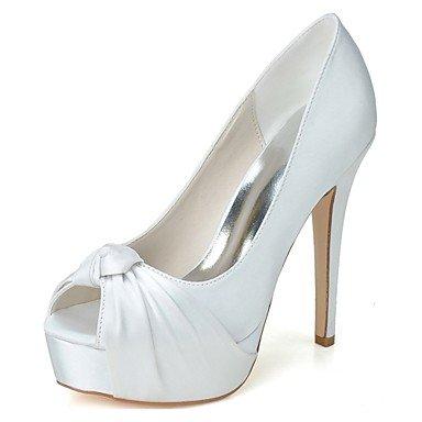 Wuyulunbi @ Chaussures Femme Satin Printemps Été Pompe Chaussures De Base De Mariage Stiletto Talon Peep Toe Pour La Fête De Mariage Et Soirée Violet Bleu Argent Blanc