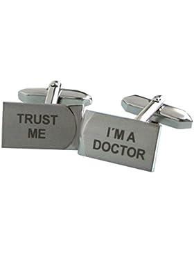 Arzt Manschettenknöpfe TRUST ME - I'M A DOCTOR zum Thema Medizin + Box