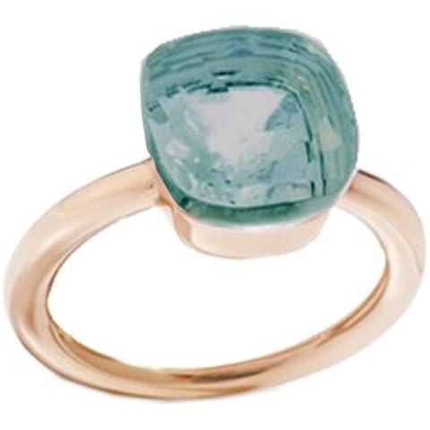 Anello in argento massiccio 925 color rosé. Pietra verde tormalina clear glass sfaccettata, castone a nudo.