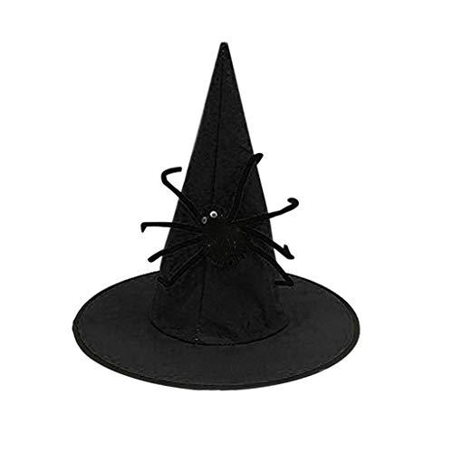 Mann Latex Kostüm Spider - bloatboy Festival Nonwoven Spider Wizard Hat - Hexenhut für Damen Halloween Horror Party schwarz Hexe Hut Kopfbedeckung (Schwarz)