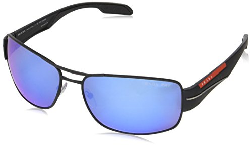 Prada Sport Herren 0PS53NS DG02E0 65 Sonnenbrille, Schwarz (Black Rubber/Polar Grey Water)