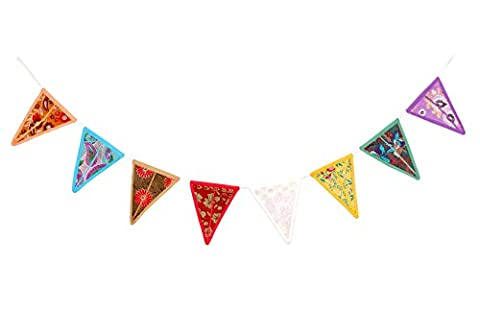 Handcrafted Ethnic Old Khambaria Patchwork Bunting with 8 flags
