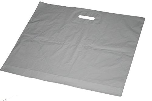 250 Stück MDPE Grifflochtragetaschen Weiss 57 x 50cm Plus 5 cm Dehnfale 50my (Weiße Tragetasche)