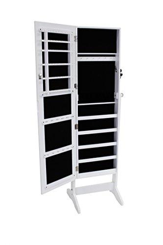Todeco - Mueble para Joyas con Espejo, Organizador con Espejo - Material: MDF - Tamaño del espejo: 1086 x 255 x 3 mm - 120 x 38 x 9 cm, Blanco, Soporte de suelo