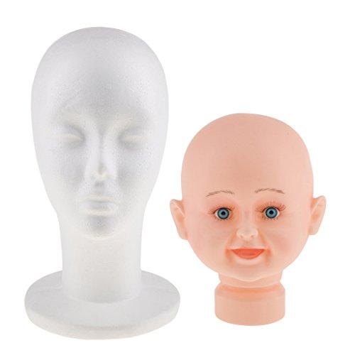 Sharplace Tête Mannequin Femme en Mousse + Tête Modèle Enfant en Plastique Support Stand de Perruque Chapeaux Casquettes Echarpe
