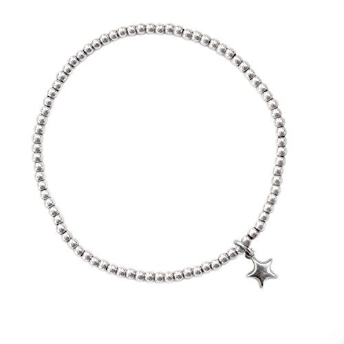 Beau Soleil Jewelry 925 Sterling Silber Schmuck Damen Armband Kugelarmband mit Charm Stern Anhänger Star Bracelet Symbolschmuck (18) (La Beaux Womens Sterne)