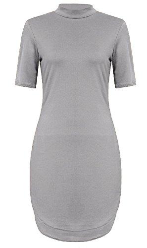 Fashion 4 Less - Robe - Manches Courtes - Femme Gris - Gris