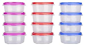 Cutting EDGE SuperSturdy Eco Plastic Container Set for Pickle, Sauces, Spices, Dry Fruits, Travelling, 125ml, 12-Pieces, Multicolour