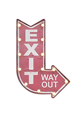 BellaMira Retro Exit Schild groß beleuchtet batteriebetrieben für den Innenbereich in Pub Restaurant Kunst Wohnzimmer Schlafzimmer