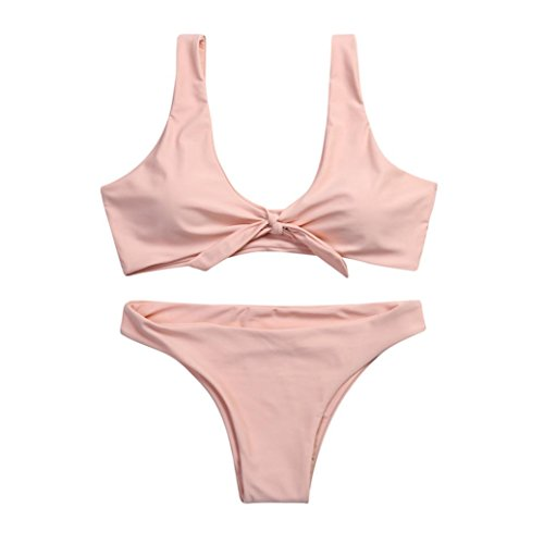 TWIFER Frauen verknotet Padded Thong Bikini Mitte Taille Scoop Badeanzug Strand Bademode (Micro Bikini-top Halter Mini)