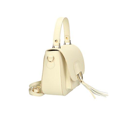 Chicca Borse Handtasche aus echtem italienischem Leder 20x17x7 Cm Beige