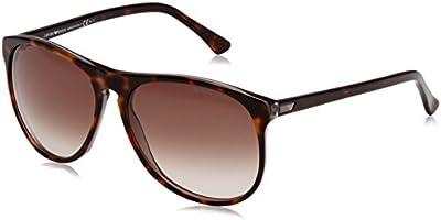 Emporio Armani - Gafas de sol Wayfarer EA 9801/S para hombre, Dark Havana Brown / Gradient Grey