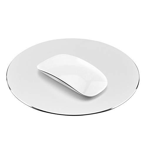 proelife Premium Aluminium Metall Maus Pad/Matte Mäuse Pad/Matte für Apple Magic Maus Microsoft Logitech TeckNet Razer Maus/Mäuse, Metal Mouse Pad-Round-Silver Colour, Mouse Pad -