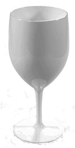 6 Grands verres à vin RB en couleur BLANC Polycarbonate incassables et réutilisables (300ml à ras bord Hauter 18.5cm, diamètre mx 72cm