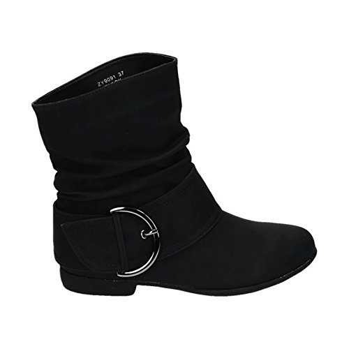 King Of Shoes Damen Stiefeletten Cowboy Western Stiefel Boots Flache Schlupfstiefel Schuhe 91 (40, Schwarz)