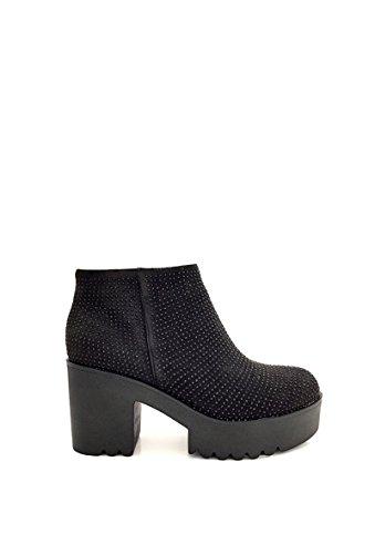 CHIC NANA . Chaussure femme bottine à plateforme, effet daim strass fantaisie.