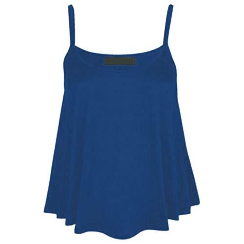 Kviklo Camis Top Damen Swing Plissee Ärmellos Träger Westen Tank Slouch Bluse, Viele Stile(S(36),Blau)