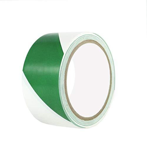 Warnband Bodenband Fahrbahnlinie Band Bodenmarkierung Warnband Band Bodenmarkierungsband Farbband 4,8 cm X 18 Code (Color : Green White)