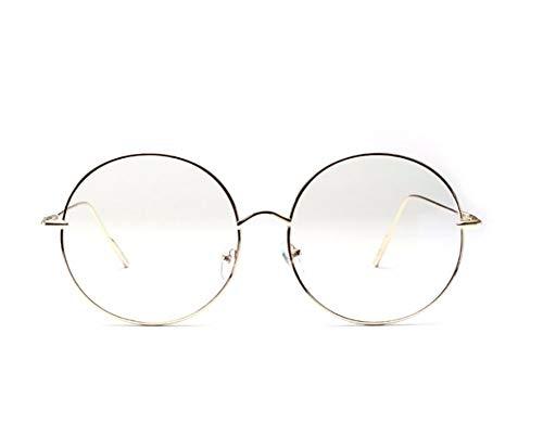 XCYQ Brillengestell Klare Runde Brille Silber Metallrahmen Vintage Kreis Brille Große Nerd Brille Frauen, C