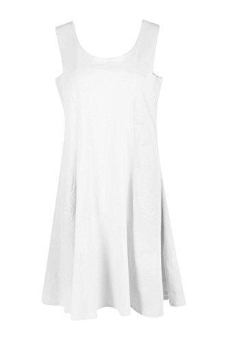 Blanc Femmes Sara Basic Seam Detail Skater Robe Blanc