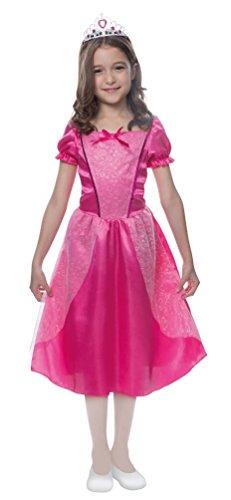 Karneval-Klamotten Prinzessin Kostüm Kinder Prinzessin Kleid Mädchen pink mit Prinzessin Krone Märchen-Prinzessin Karneval Fee Kinder-Kostüm Größe ()
