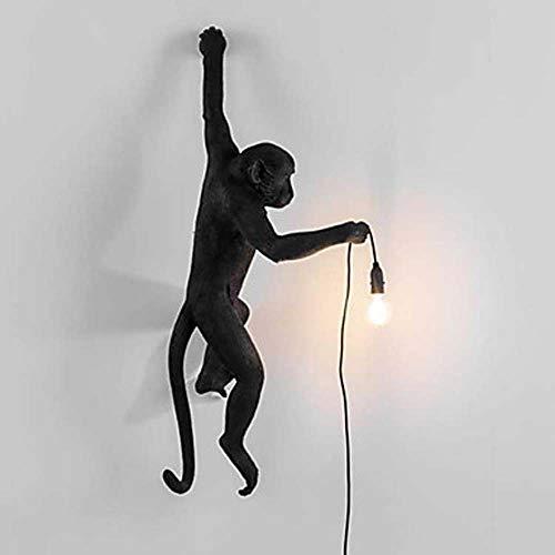 LJ Monkey Mini Style Vintage/Modern/Contemporary Wandleuchte Und Wandleuchte Schlafzimmer/Arbeitszimmer/Büro/Kinderzimmer Resin Wandlampe 32W (Farbe : Black) Monkey Telefon